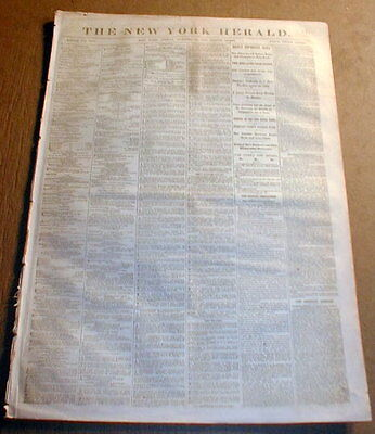 1862 Civil War newspaper CONFEDERATE GENERAL BRAGG is FIRED -is REPLACED by HOOD