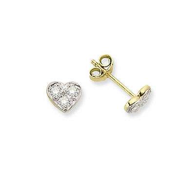 9ct Yellow Gold Cubic Zirconia 5mm Round Stud Earrings - Gift Boxed CN2OH3