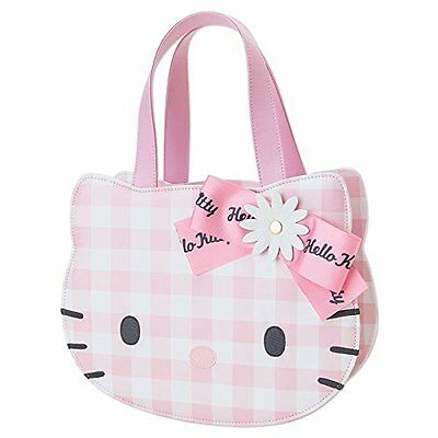 Hello Kitty face shaped tote bag gingham Flower