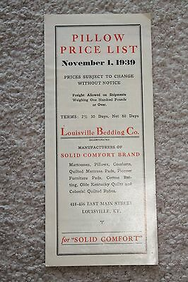 Vintage 1939 Louisville, KY Bedding Co Pillow Price List and Order Form