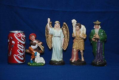 Hand Painted Paper Mache Christmas Nativity Figures Germany Angel King Shepards