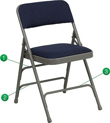 (4 PACK) Navy Fabric Metal Folding Chair with Triple Braced & Double Hinged