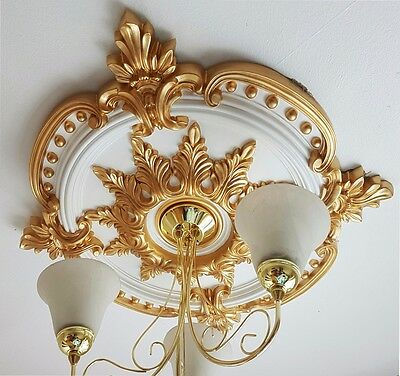 Large Gold 720mm Ceiling Rose Plaster Traditional Victorian Handmade Easy Fit