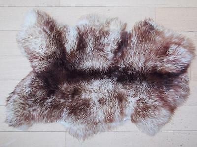 Sheepskin Rug Spiced Brown Mouflon VERY LARGE Thick Wool NATURAL THROW BLANKET