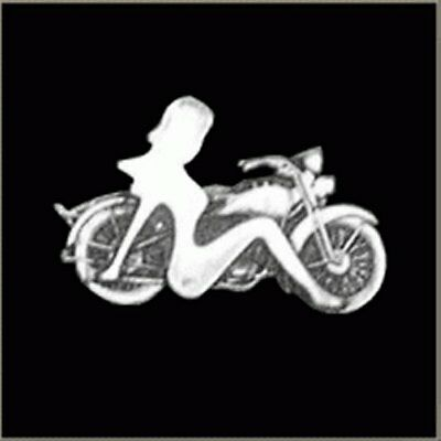 MUDFLAP GIRL WITH MOTORCYCLE  JACKET VEST MOTORCYCLE BIKER PIN  Made in the USA