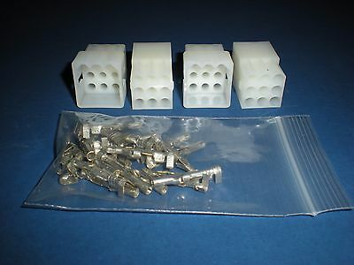 "9 Pin Molex Connector Lot, 2 Matched Sets, w/14-20 AWG .093"" Pins, Free Hanging"