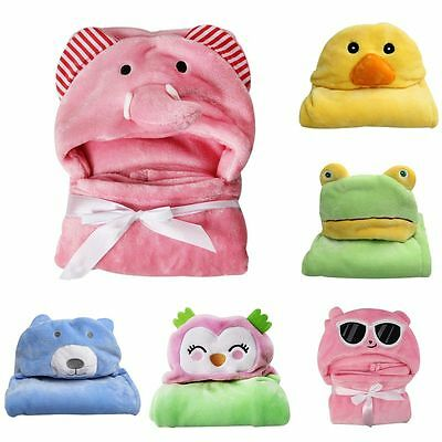 New Baby Infant Warm Soft Coral Fleece Hooded Bath Towel Kids Robe Sleep Blanket