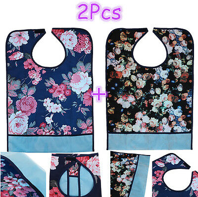 Adult Mealtime Bibs Apron Protector Pocket Disability Aid Waterproof