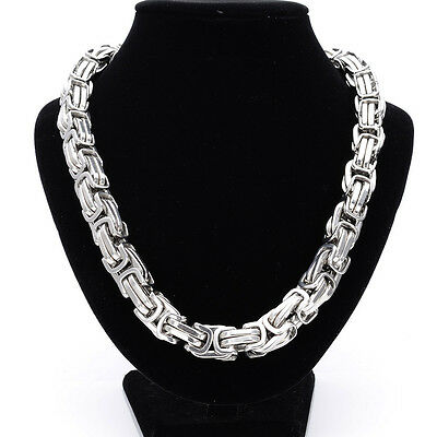 """Top 316L Stainless Steel Heavy Silver Men's Byzantine Necklace Chain 18""""-40"""""""
