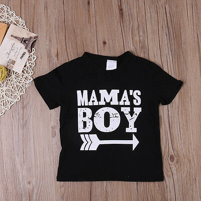 Kids Mama Boy Printed Tops Baby Boys Short Sleeve Cotton T Shirt Summer Tee