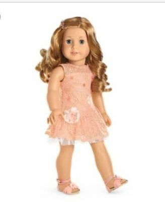 American Girl Shimmer Lace Party Dress BNIB  (Peach)  So Beautiful !!!!!