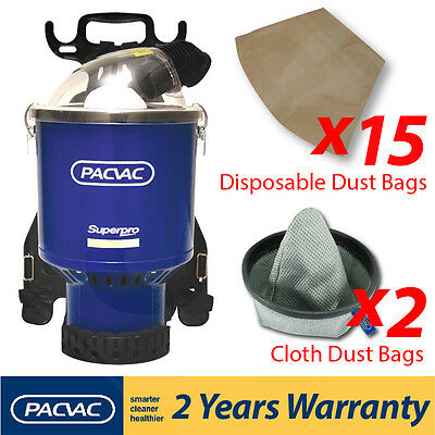 Pacvac Superpro 700 Commercial Backpack Vacuum Cleaner 2 Cloth and 15 paper bags