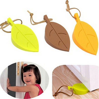 Silicone Leaves Decor Design Door Stop Stopper Jammer Guard Baby Safety Home EV