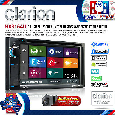 "Clarion Nx316au 6.2"" Car Navigation Cd Usb Ipod Bluetooth Bt Nav + Cc510 Camera"