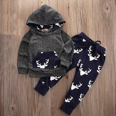 Kids Baby Boy Girls Clothes Set Hooded Tops + Long Pants Christmas Outfits 12-18