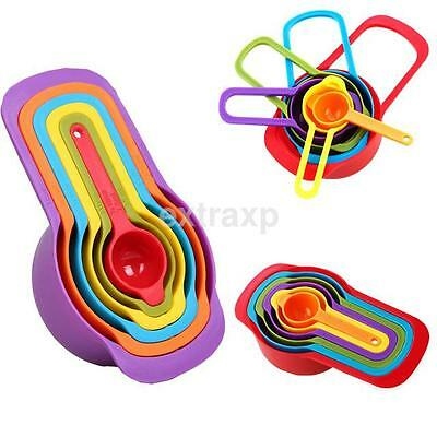 6Pcs Rainbow ABS Plastic Measuring Spoons Cups Tools Set For Baking Cooking US