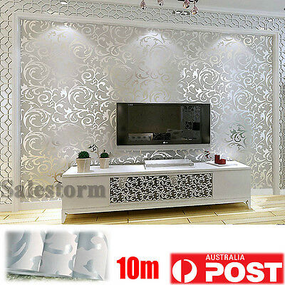 10M 3D Silver Texture Wallpaper Roll European Living Backdrop Embossed Damask