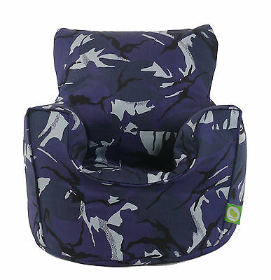 Cotton Urban Camo Camouflage Blue Bean Bag Arm Chair with Beans Child/Teen size