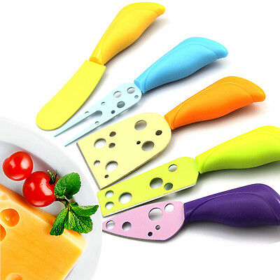 New Colorful Plastic Handle Cheese Fork Spreader Knives Sets Cutter Home