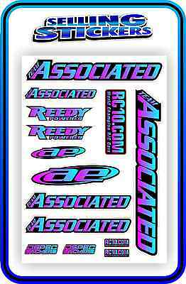 Team Associated Rc Stickers Decal 1/10 1/8 Tc7 Car Buggy Off Road Pink Blue B