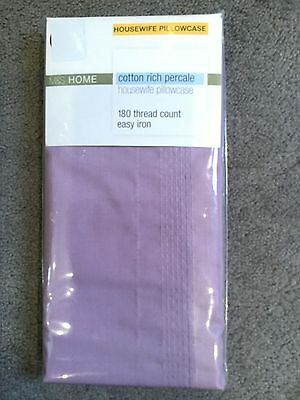M&s Cotton Rich Percale Housewife Pillowcase In Heather/lavender - Bnwt