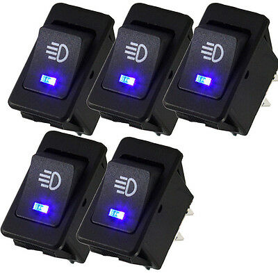 NEW 5 X 12V 35A Car Auto Fog Light Rocker Toggle Switch Blue LED Dashboard Sales