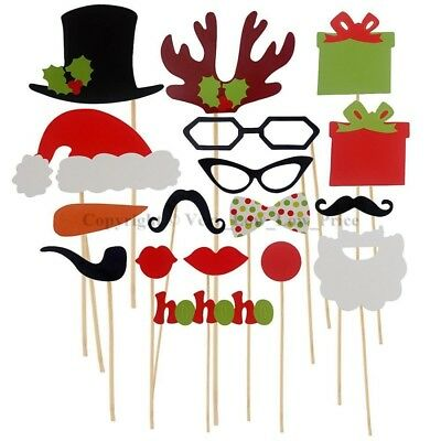 NEW 17pcs Christmas Prop Party Xmas Selfie Photo Booth Set Mustache Lip on Stick