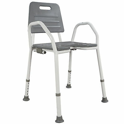 Shower Chair Seat Stool Adjustable Height Soft Backrest Bathroom Comfort Armrest