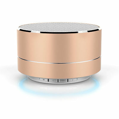 Portable Mini Bluetooth Wireless Subwoofer Stereo Speaker Tablet PC Smar Gold