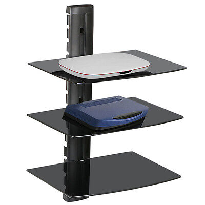 3 Tier Wall Mounted Glass Floating Shelves TV DVD Audio Video Units Sky Box