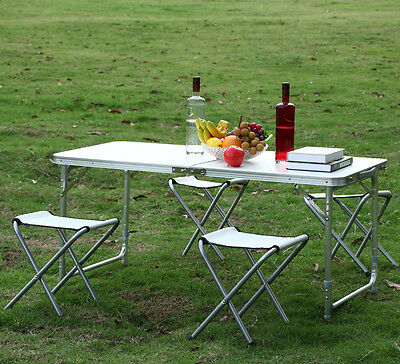 Aluminium Folding Portable Picnic Outdoor Camping Set Table w/4 Chairs BBQ Party