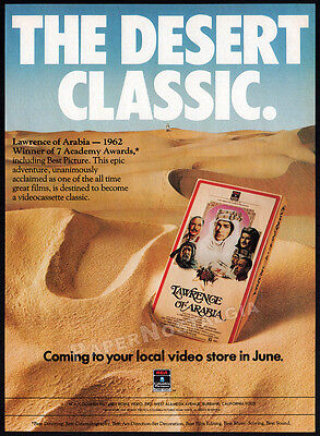 LAWRENCE OF ARABIA__Vintage 1983 Print AD / video movie promo__PETER O'TOOLE