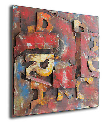Letters Designer Relief MetallBild 3D 120x120cm Industrie Design Wandrelief 359