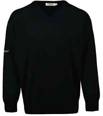 ProQuip Mens Merino Wool Black Small V-Neck Jumper - Pro Quip Clothing -Golf