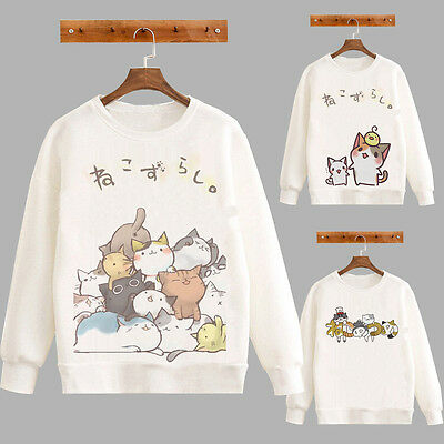 Sweet Spring Neko Atsume Cute Cat Girl's Sweater Cotton Fleece T Long Coat