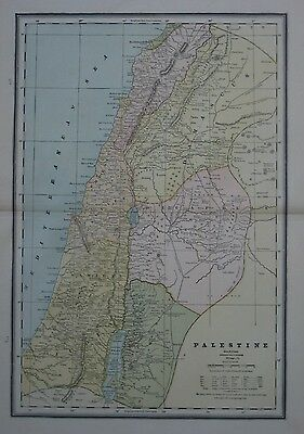Original 1891 Map PALESTINE Jerusalem Gaza Damascus Bethlehem Tyre Road to Mecca