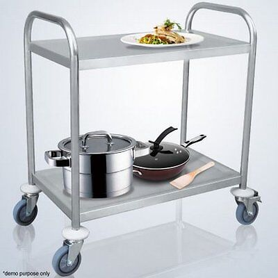 NEW Durable Stainless Steel Two-Tier Kitchen Trolley Organizer,2 Lockable Wheels