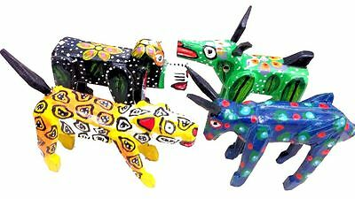 Mexican Jungle Wooden Bright Animal Statue Ornament Leopard cow dog donkey