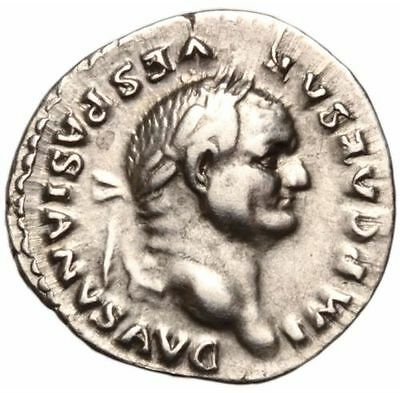 Roman Denarius of Vespasian, RIC 703 (74 AD), Winged Caduceus reverse