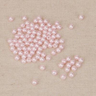 100pcs Round Acrylic Faux Pearl Loose Seed Beads Spacer for Jewelry Making