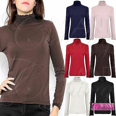 New Ladies Turtle Polo Ruffle Neck Top Womens Stretch Long Sleeve Jersey Tops