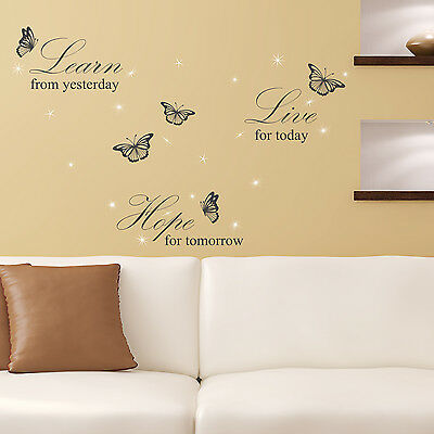 Swarovski Crystals & Learn Live Hope Quote Murals Home Decoration Wall Stickers