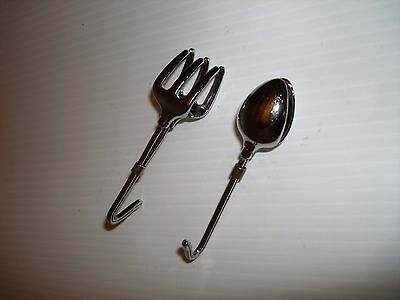 Napkin Clips Simply Hooks Over Collar or Tie. 1 Fork & 1 Spoon!!