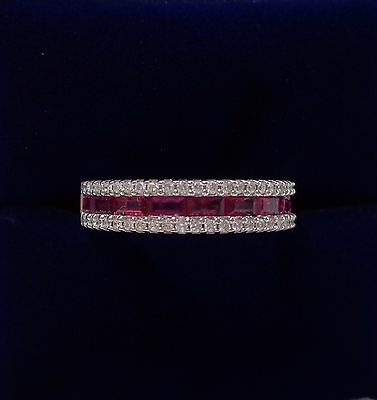 Ruby and 0.25ct Diamond Half Eternity Ring in 18ct White Gold - Size K 1/2