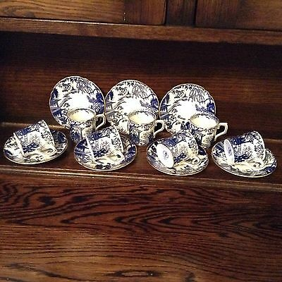 Royal Crown Derby Mikado set of 7 coffee cups and saucers