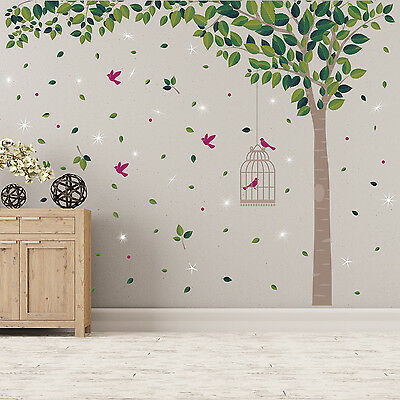 Swarovski Crystals & Green Tree Murals Decals Home Decoration Wall Stickers