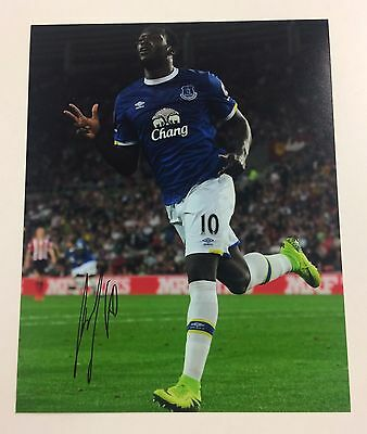 Hand Signed 2016/17 Romelu Lukaku Everton 10x8 Photo & COA