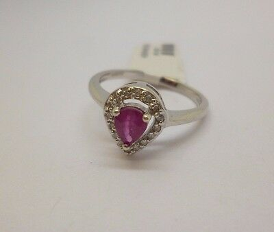 9ct white gold pear cut ruby and round diamond pear drop dress ring size L