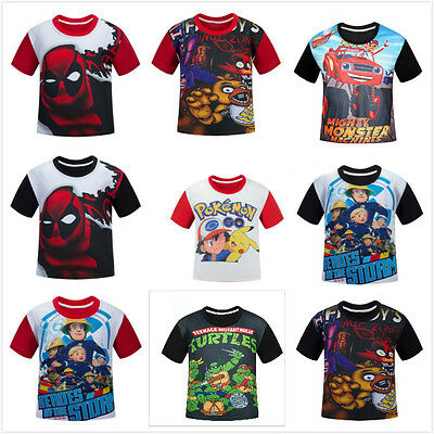 Poke Kids Boys Cartoon T-shirt Children Short Sleeve Summer Casual Top Tee Shirt