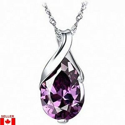 Amethyst Pendant Gemstone Natural Crystal on Water Wave 925 Silver Necklace